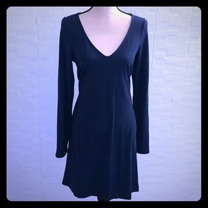 Express Blue V-neck Long-Sleeved Knee-Length Dress